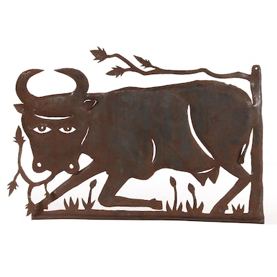 Gabriel Bien-Aime Haitian Metal Sculpture of Cow