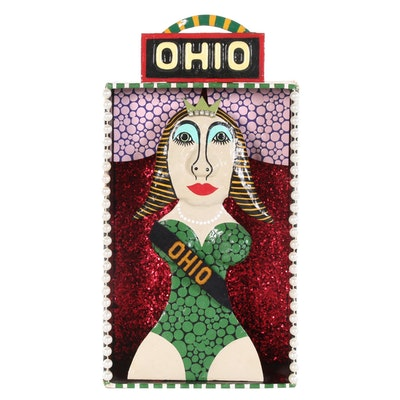 "Levent Isik Folk Art Mixed Media Sculpture ""Miss Ohio"", 2014"