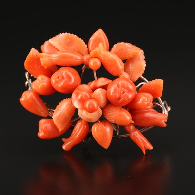 Victorian Carved Coral Brooch
