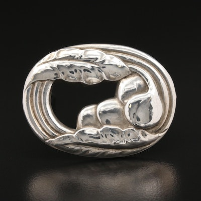 Art Deco Georg Jensen Foliate Motif Brooch