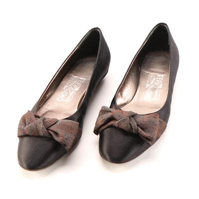 Salvatore Ferragamo Black Satin with Bow Detail Flats
