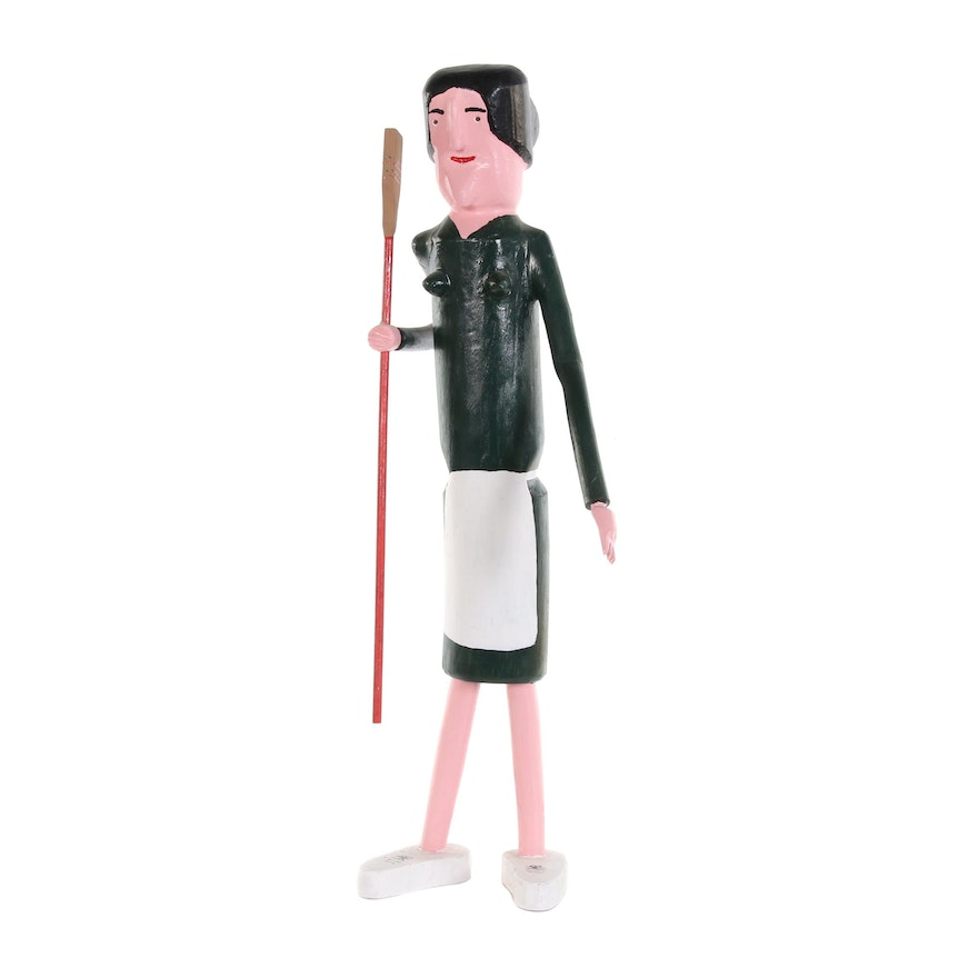Calvin Cooper Folk Art Polychrome Wood Carving of Woman with Broom