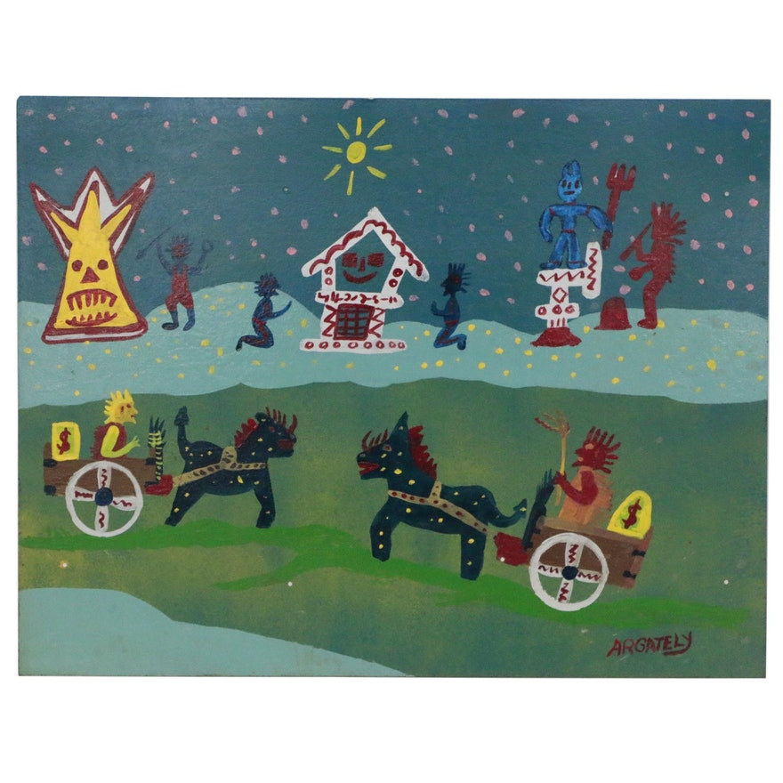 "AR Gately Folk Art Acrylic Painting ""Romans vs. Indians"""
