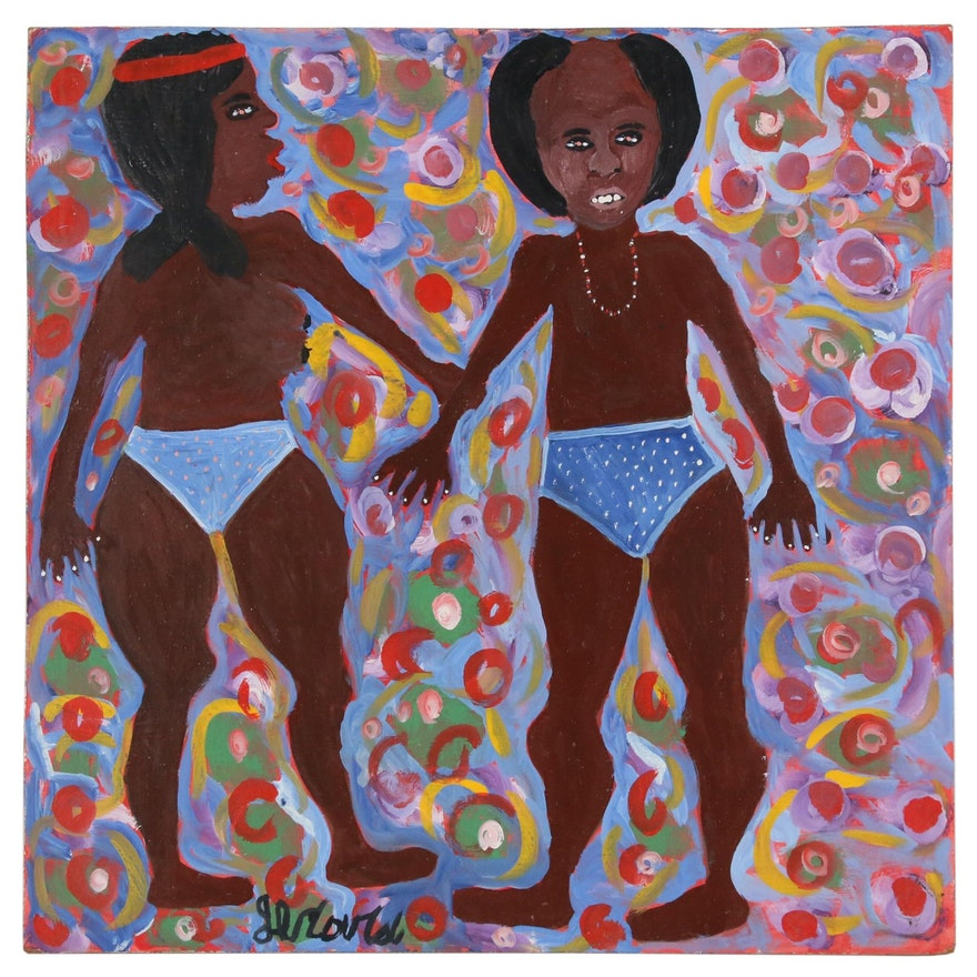 Gerard Fortuné Haitian Folk Art Acrylic Painting of Male and Female Figure