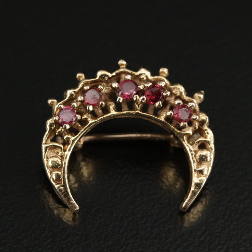 14K Yellow Gold Rhodolite Garnet Crescent Moon Brooch