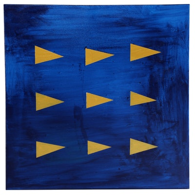 "Neville Shenton Acrylic Painting ""Golden Flags"""