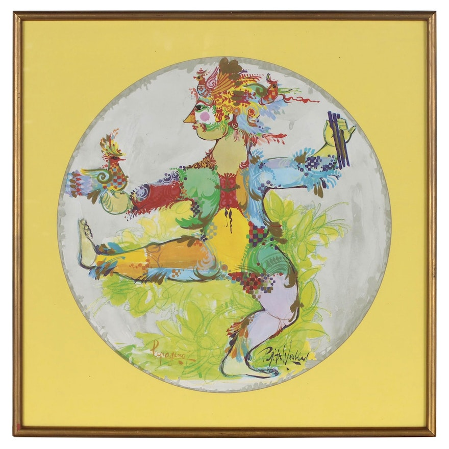 """Offset Lithograph after Bjorn Wiinblad """"Papageno"""""""