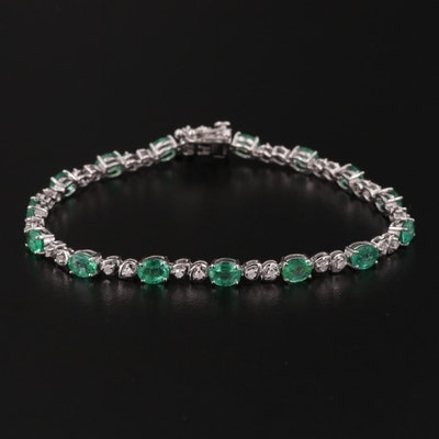 14K White Gold Emerald and Diamond Bracelet