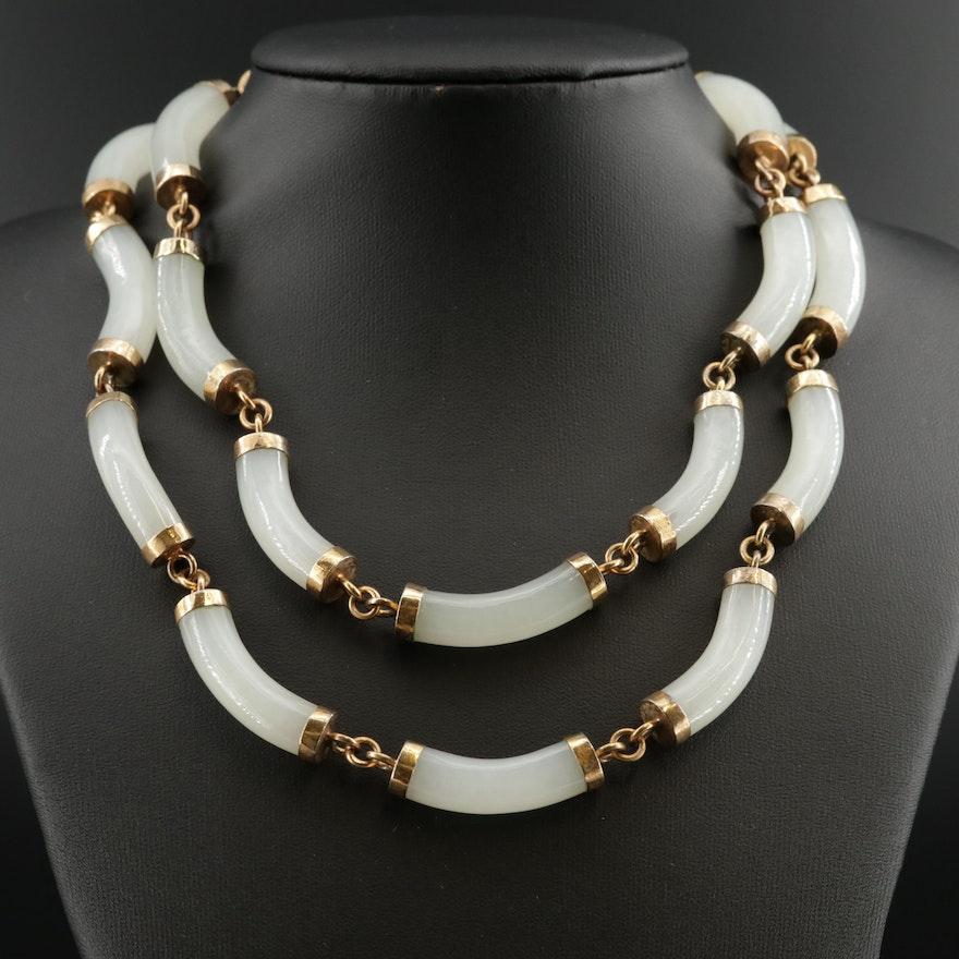 Vintage White Nephrite Necklace