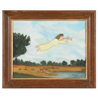 Myrtice West Folk Art Mixed Media Painting of Angel with Horn