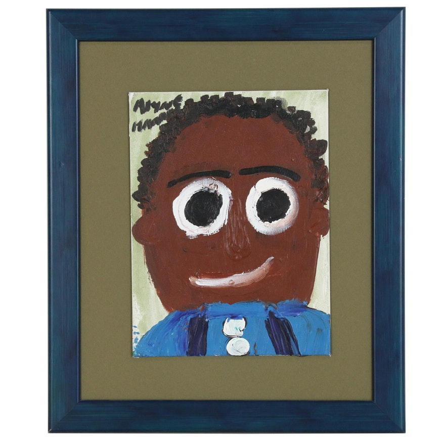 Alyne Harris Folk Art Acrylic Painting of Male Figure