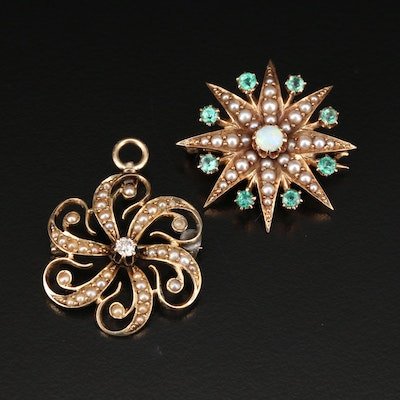 Victorian 14K Gemstone Sunburst and Starburst Converter Brooches