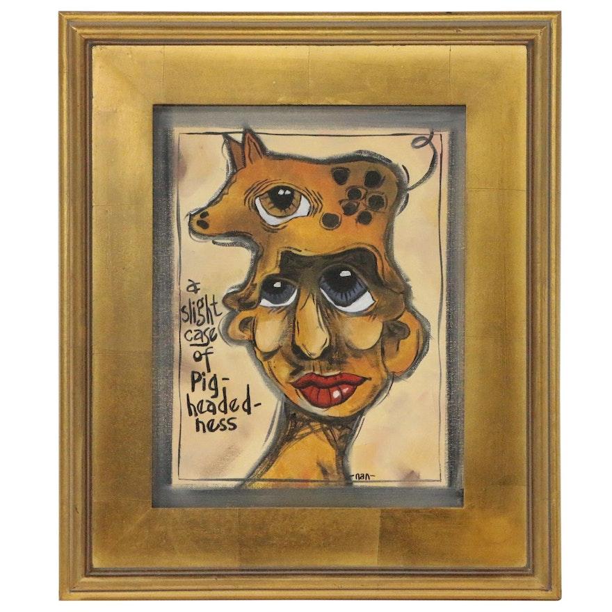 "Abstract Folk Art Oil Painting ""A Slight Case of Pig-Headedness"""