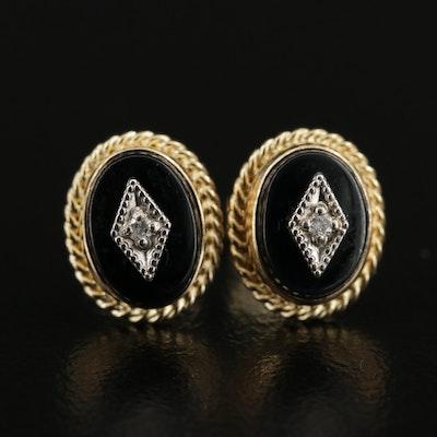 14K Yellow Gold Diamond and Black Onyx Stud Earrings