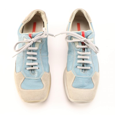 Prada Sport Light Blue Leather and Beige Suede Sneakers