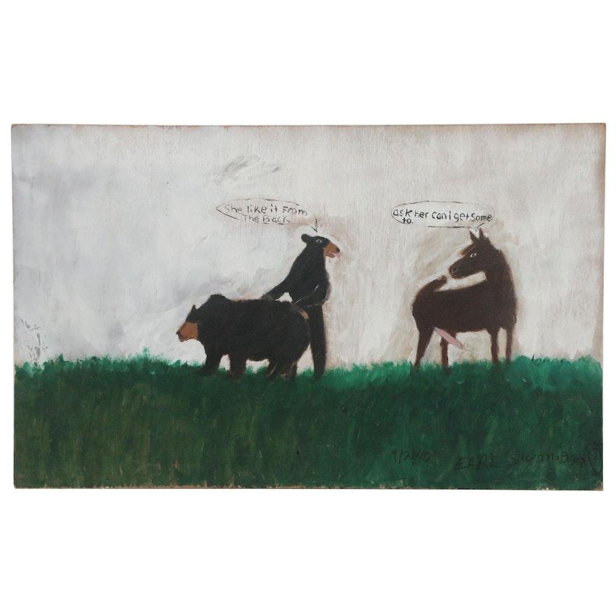 "Earl Swanigan Monumental Outsider Acrylic Painting ""Field Fuck"""