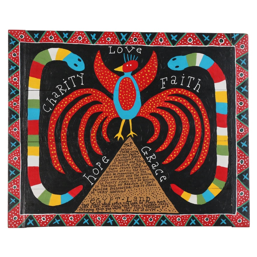 "Jim Gary Phillips Folk Art Acrylic Painting ""The New Bird"""