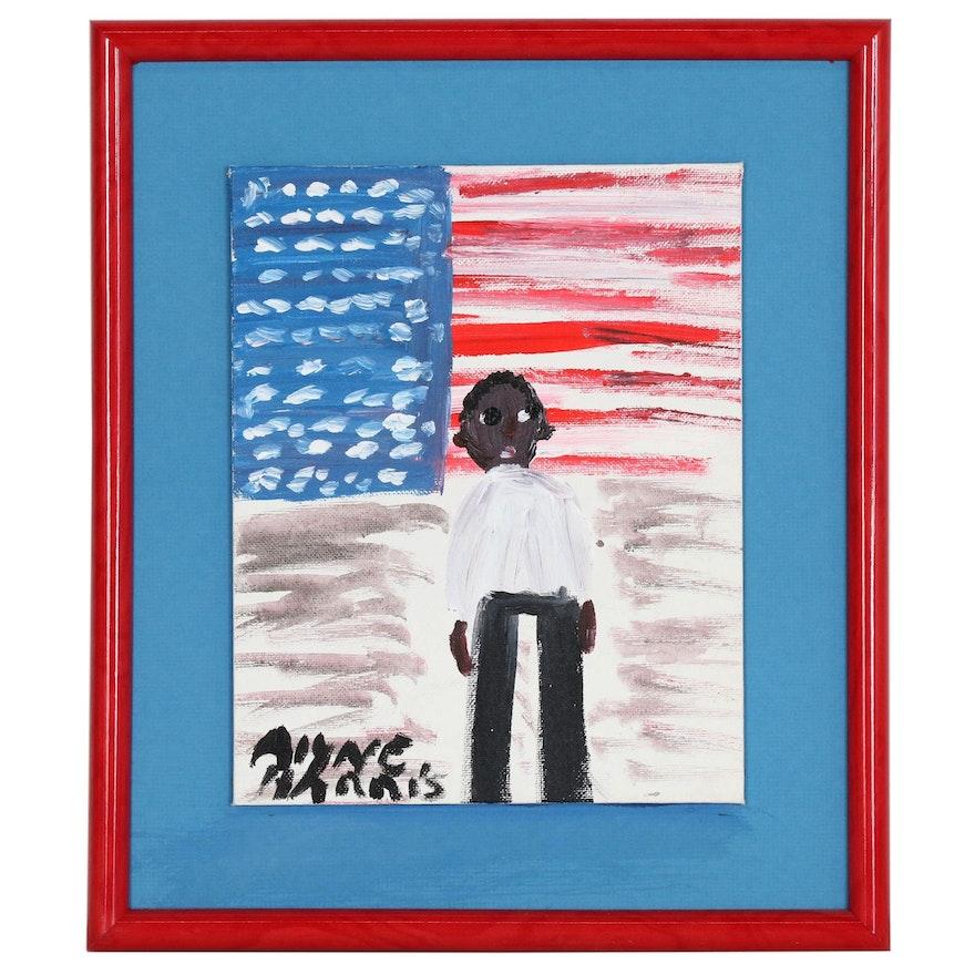 Alyne Harris Folk Art Acrylic Painting of Figure and American Flag