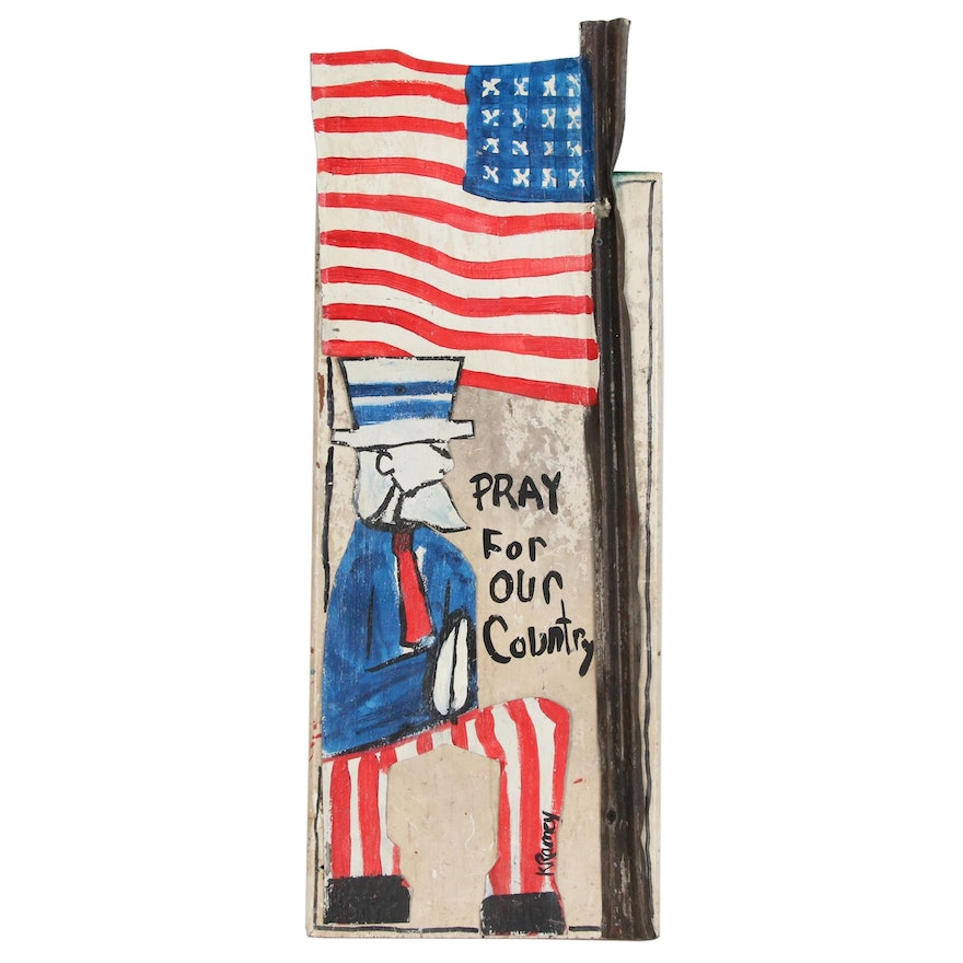 """Kip Ramey Folk Art Mixed Media Painting """"Pray for Our Country"""""""