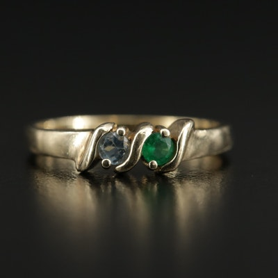 10K Gold Emerald and Aquamarine Ring