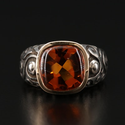 Sterling Silver Citrine Ring with 14K Yellow Gold Accent