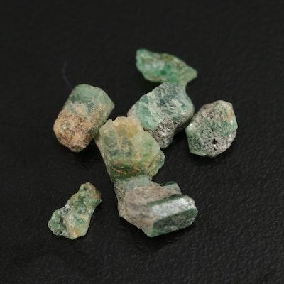 Loose 6.37 CTW Rough Emeralds