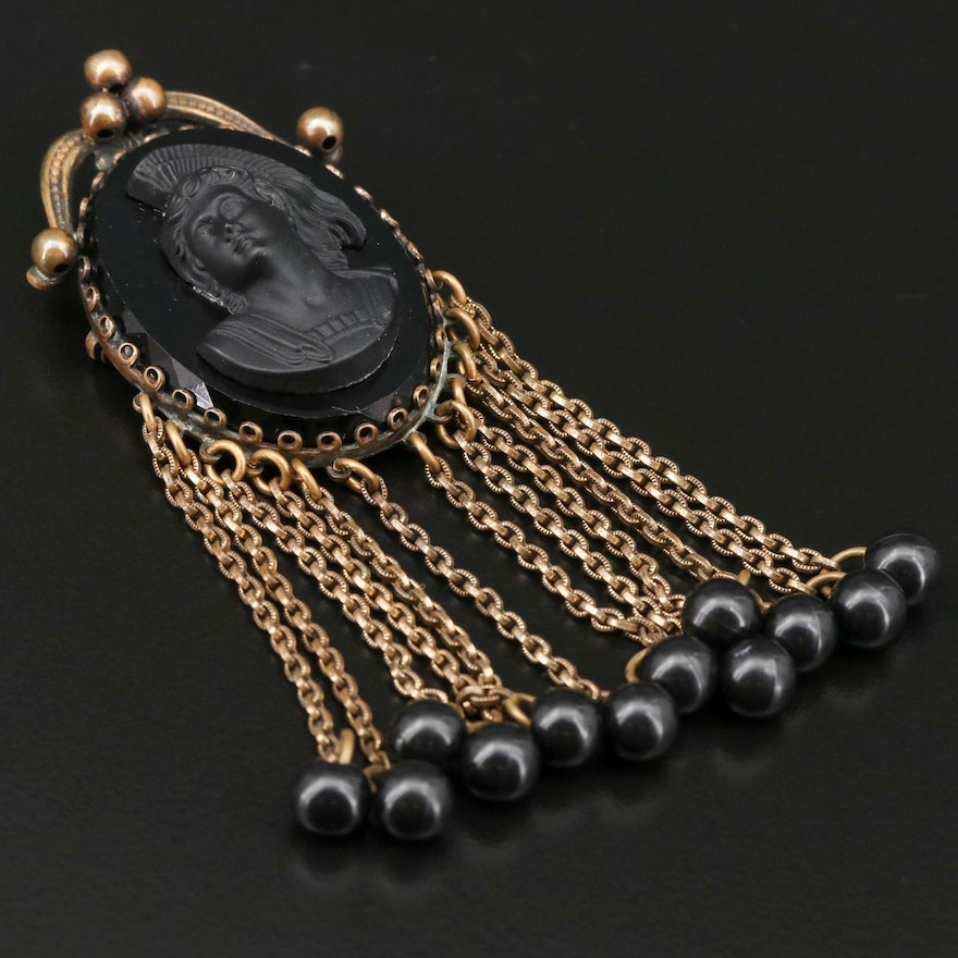 B. Blumenthal & Co. Inc. Vulcanite Victorian Mourning Revival Brooch