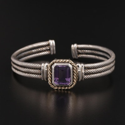 Sterling Amethyst Twisted Cable Cuff Bracelet