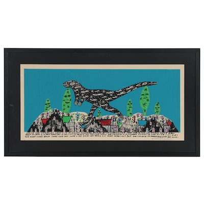 Howard Finster Serigraph of Dinosaur Walking Through City