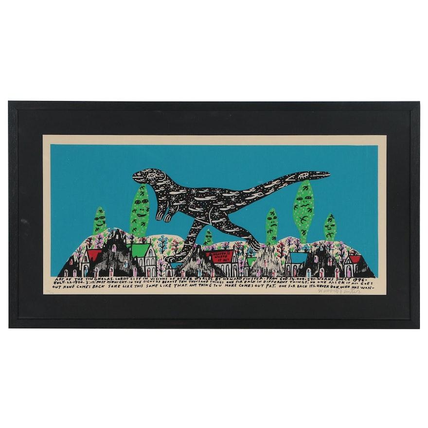 Howard Finster Serigraph of Dinosaur Walking Through City
