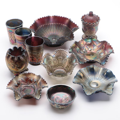 """Northwood """"Grape and Cable"""" and Other Carnival Glass, Early 20th Century"""