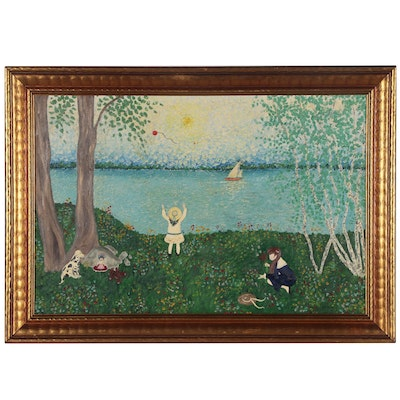 Naive Style Oil Painting of Girls Playing at Lake Shore