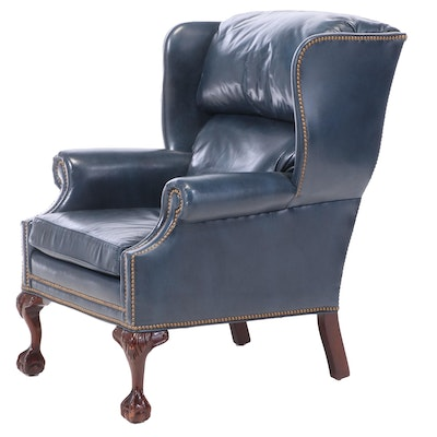 Hancock & Moore Chippendale Style Leather-Upholstered Mahogany Wingback Armchair