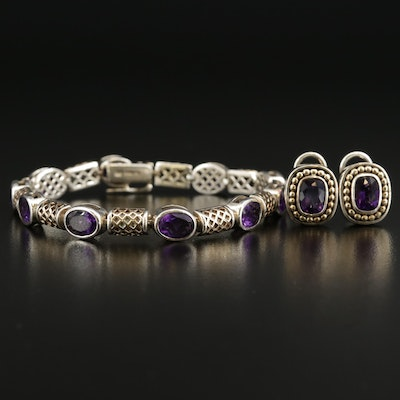 Sterling Amethyst Bracelet and Earring Set
