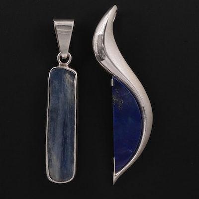 Sterling Lapis Lazuli Pendant and Charles Albert Kyanite Pendant