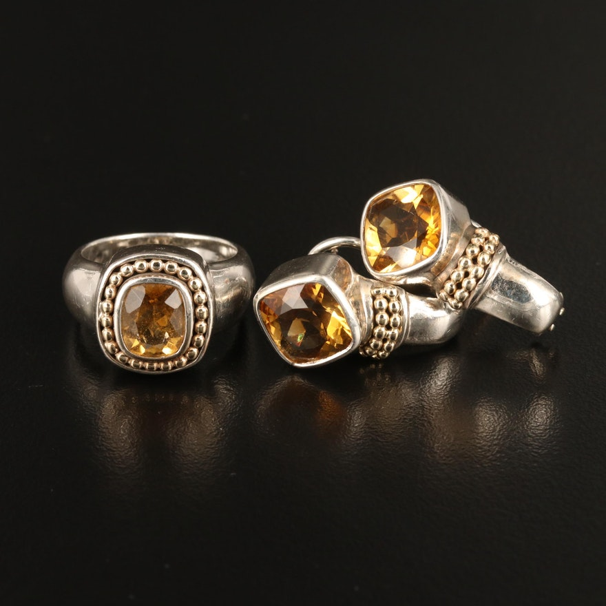 Sterling Citrine Ring and Earring Set