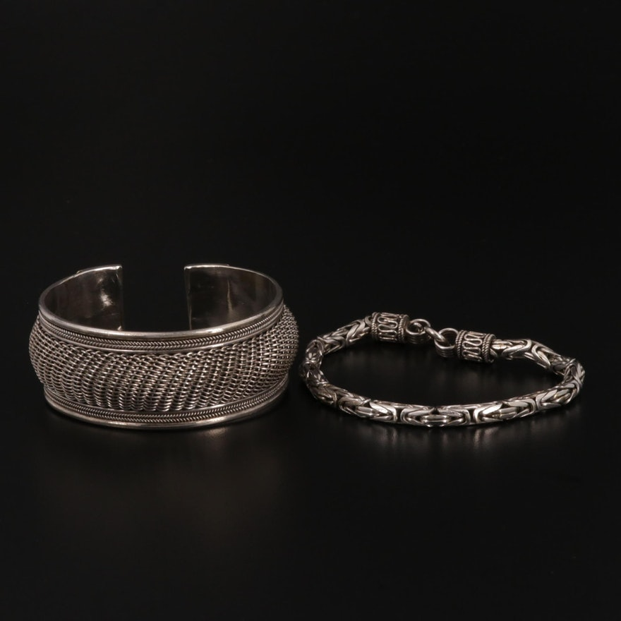 Sterling Bali Style Woven Cuff and Byzantine Chain Link Bracelet