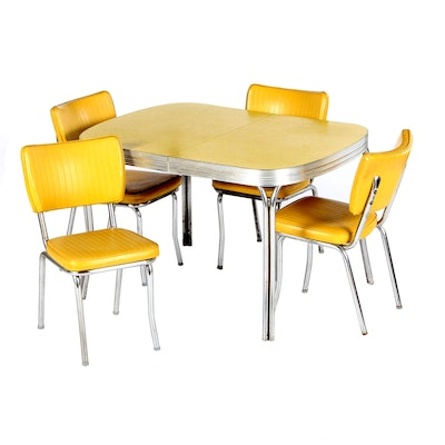 Chrome and Yellow Laminate and Vinyl Dinette Set, circa 1950