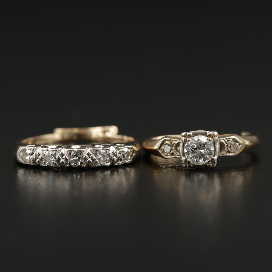 Vintage 14K Yellow Gold Diamond Ring and Band