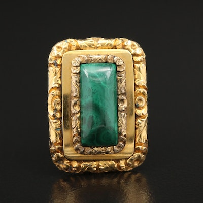 Antique 14K Yellow Gold Malachite Rectangle Brooch