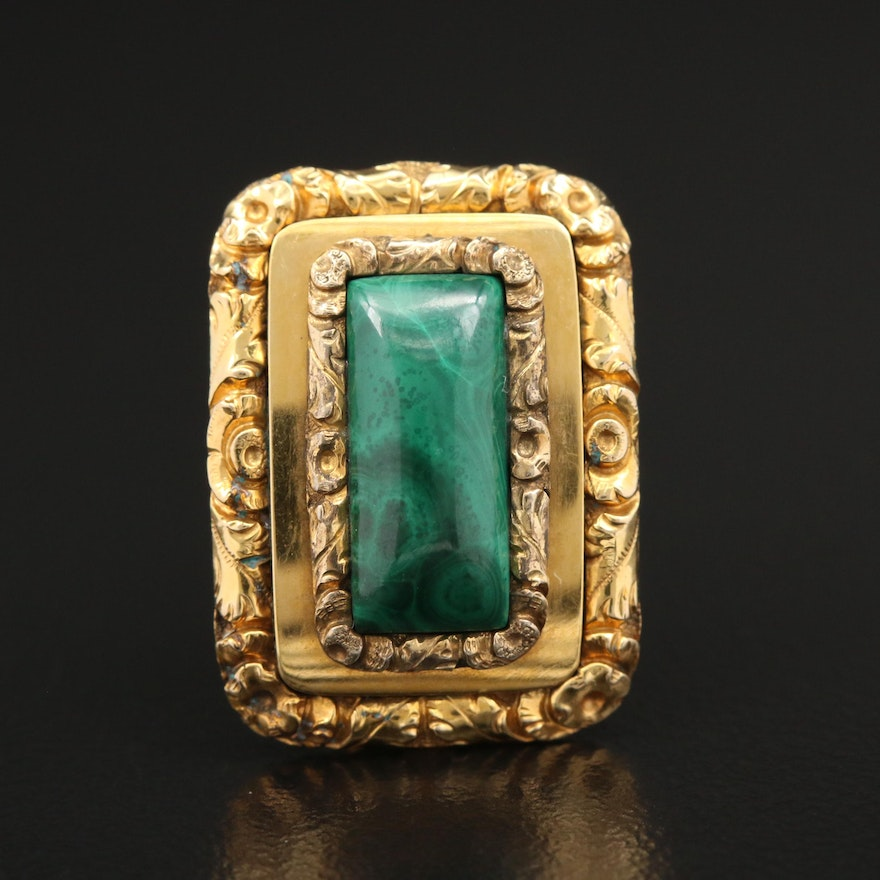 Victorian 14K Yellow Gold Malachite Rectangle Brooch
