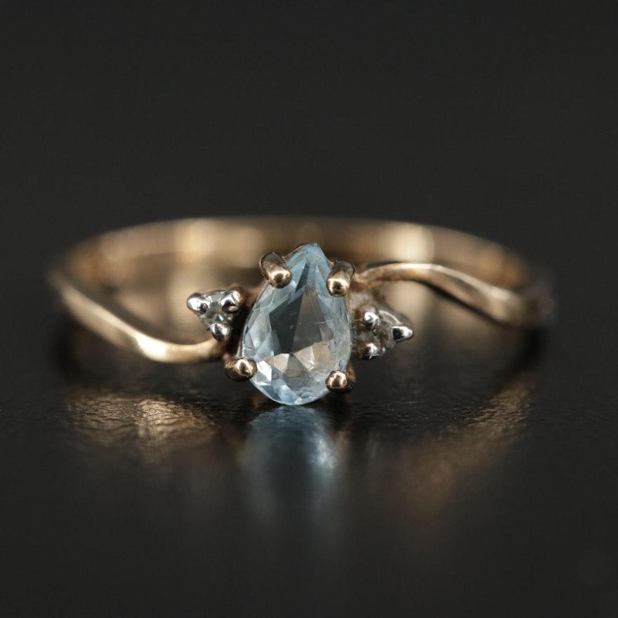 Vintage 10K Yellow Gold Aquamarine and Diamond Ring