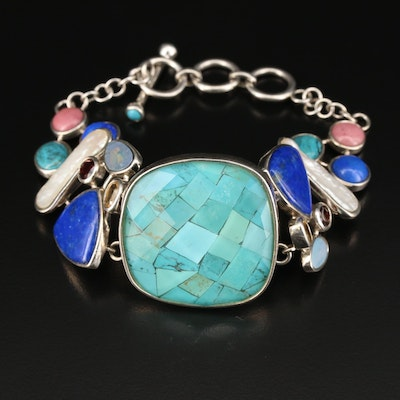 Sterling Silver Beaded Bracelet with Quartz, Lapis Lazuli and Opal Doublet