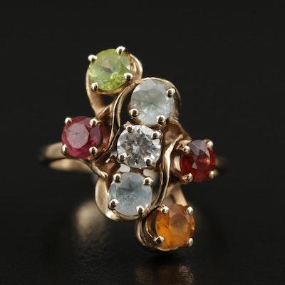 14K Ring with Diamond, Garnet, Citrine, Peridot, Aquamarine and Tourmaline