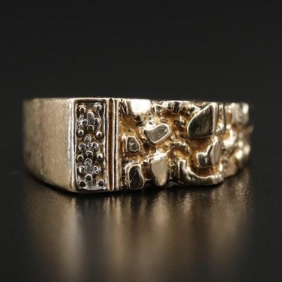 Vintage 10K Diamond Nugget Style Ring
