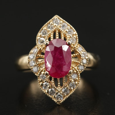 14K Yellow Gold Ruby and Diamond Ring with Milgrain Detail