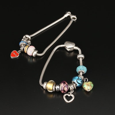 Sterling Silver Charm Bracelet with Puppy and Heart Charms