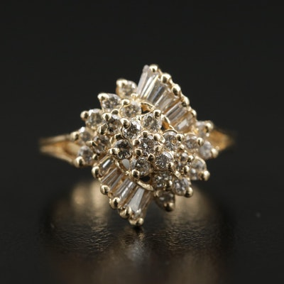 14K Yellow Gold 0.90 CTW Diamond Ring