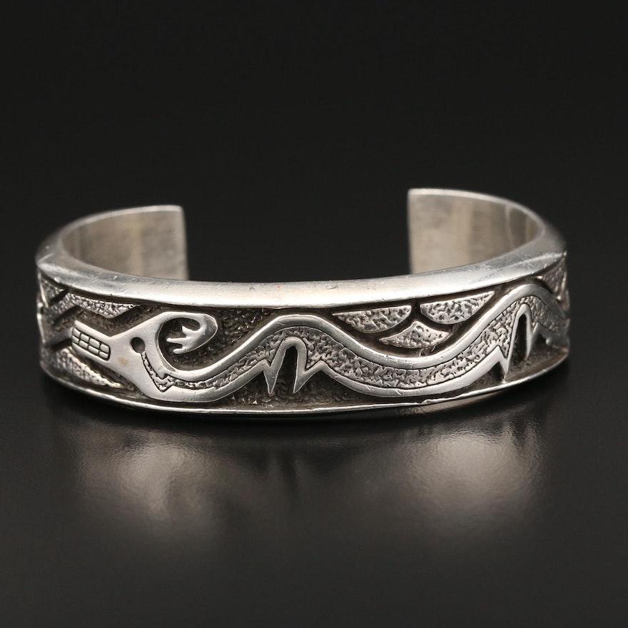 Southwestern Sterling Cuff Bracelet with Deer Motif
