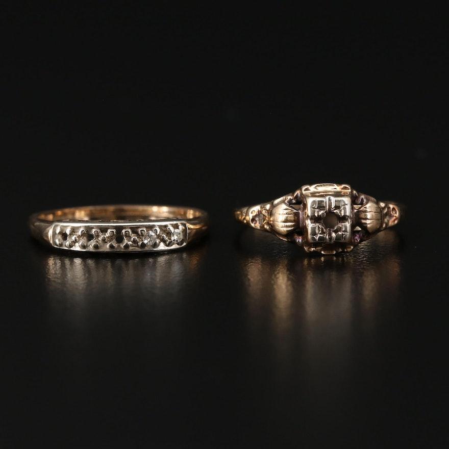 14K Yellow Gold Semi-Mount Ring and Diamond Band